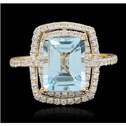 14KT Yellow Gold 4.06ct Blue Topaz and Diamond Ring A6556