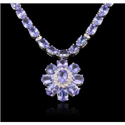 14KT White Gold 55.83ct Tanzanite and Diamond Necklace RM1531