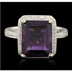 14KT White Gold 6.72ct Amethyst and Diamond Ring A6513