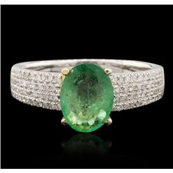 14KT Two Tone Gold 1.15ct Emerald and Diamond Ring A6840