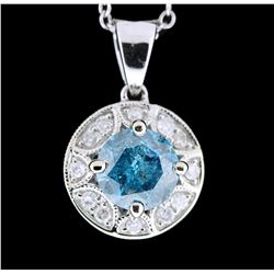 14KT Gold 1.05ct I-2/Fancy Greenish Blue Pendant With Chain A4910