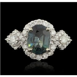 14KT White Gold 3.04ct GIA Certified Sapphire and Diamond Ring RM1481