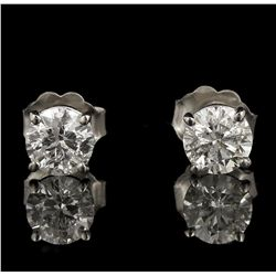 14KT White Gold 1.06ctw Diamond Solitaire Earrings GB4372