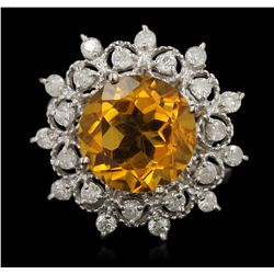 14KT White Gold 5.61ct Citrine and Diamond Ring A6543