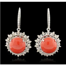 14KT White Gold 14.90ctw Coral and Diamond Dangle Earrings A6252