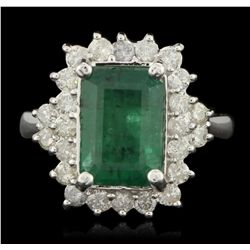 14KT White Gold 3.01ct Emerald and Diamond Ring A6153