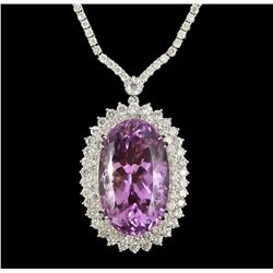 14KT White Gold 50.81ct Kunzite and Diamond Necklace A5269