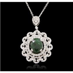 14KT White Gold 4.68ct Emerald and Diamond Pendant With Chain A7031