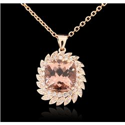14KT rose gold 13.57ct Morganite and Diamond Pendant With Chain A6220