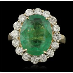 14KT Yellow Gold 6.22ct Emerald and Diamond Ring A5316