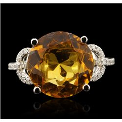 14KT Rose Gold 5.75ct Citrine and Diamond Ring A6734
