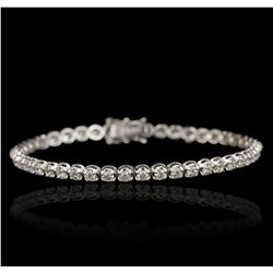 18KT White Gold 4.17ctw Diamond Tennis Bracelet A6749