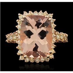 14KT Rose Gold 8.94ct Morganite and Diamond Ring A6178