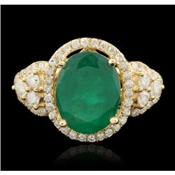 14KT Yellow Gold 3.25ct Emerald and Diamond Ring A6530