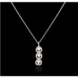 14KT White Gold 0.12ctw Diamond Pendant With Chain GB3144