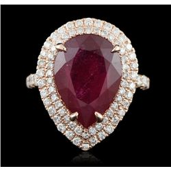 14KT Rose Gold 8.91ct Ruby and Diamond Ring A5713
