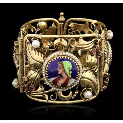 14KT Yellow Gold and Enamel and Garnet Bracelet Bangle GB3649