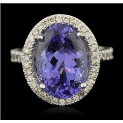 14KT White Gold 8.52ct Tanzanite and Diamond Ring A6174