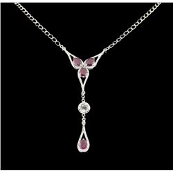 SILVER 6.70ct Ruby and White Topaz Necklace SLV252