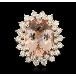 14KT Rose Gold 7.79ct Morganite and Diamond Ring A6237