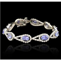 14KT White Gold 7.89ctw Tanzanite and Diamond Bracelet PRM90