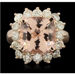 14KT Rose Gold 6.08ct Morganite and Diamond Ring A6158