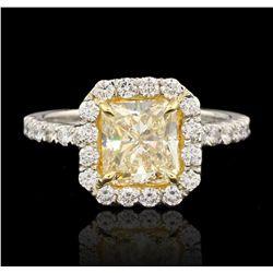 Platinum 2.07ct VS2/Fancy Yellow EGL USA Certified Diamond Ring HK15
