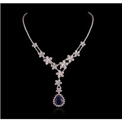 18KT White Gold 20.80ct Tanzanite and Diamond Necklace FJM3052
