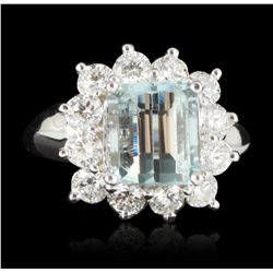 14KT White Gold 3.08ct Aquamarine and Diamond Ring A5237