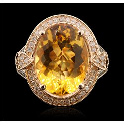 14KT Rose Gold 8.05ct Citrine and Diamond Ring  A6744