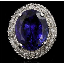 14KT White Gold 21.84ct GIA Cert Tanzanite and Diamond Ring A6396