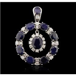 14KT White Gold 18.48ct Sapphire and Diamond Pendant A7115