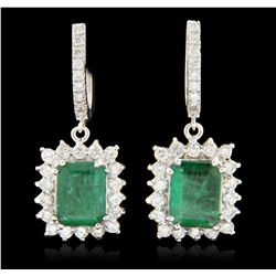 14KT White Gold 6.90ctw Emerald and Diamond Earrings A6332