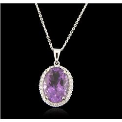 14KT White Gold 11.53ct Amethyst and Diamond Pendant With Chain A6596