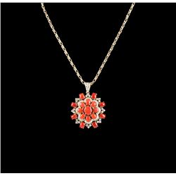 14KT Yellow Gold 19.87ctw Red Coral & Diamond Pendant with Chain A5293