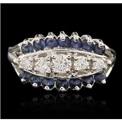 14KT White Gold 0.60ctw Sapphire and Diamond Ring A6494