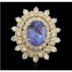 14KT Yellow Gold 5.10ct Tanzanite and Diamond Ring  A5951