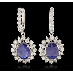 14KT White Gold 7.57ctw Blue Sapphire and Diamond Dangle Earrings PRM93