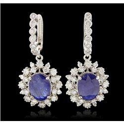 14KT White Gold 7.57ctw Blue Sapphire and Diamond Dangle Earrings PRM93