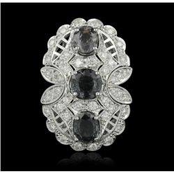 14KT White Gold 5.92ctw Spinel and Diamond Ring A5189