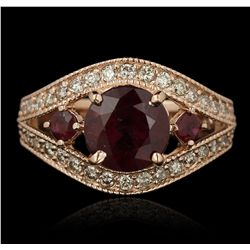 14KT Rose Gold 3.16ctw Ruby and Diamond Ring A7092