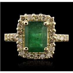 14KT Yellow Gold 2.75ct Emerald and Diamond Ring A7041