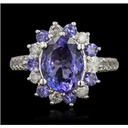 14KT White Gold 3.29ctw Tanzanite and Diamond Ring RM1563