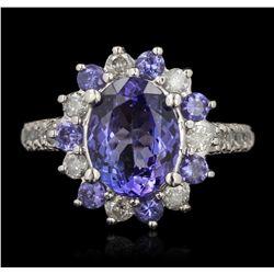 14KT White Gold 3.29ctw Tanzanite and Diamond Ring RM1563