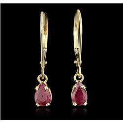 14KT Yellow Gold 0.85ctw Ruby Earrings GB4529