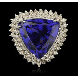 14KT White Gold 25.67ct GIA Cert Tanzanite and Diamond Ring A6405