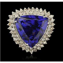 14KT White Gold 25.67ct GIA Cert Tanzanite and Diamond Ring A6405