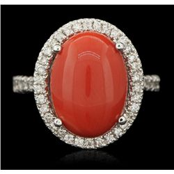 14KT White Gold 6.50ct Coral and Diamond Ring A6328
