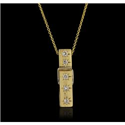 18KT Yellow Gold 0.15ctw Diamond Pendant With Chain GB4439