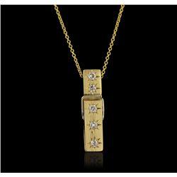18KT Yellow Gold 0.15ctw Diamond Pendant With Chain GB4439